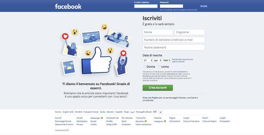 iscriviti a facebook